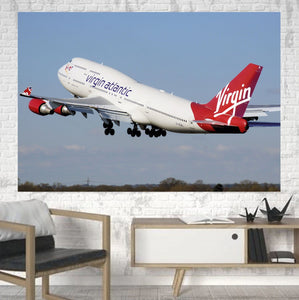 Virgin Atlantic Boeing 747 Printed Canvas Posters (1 Piece) Aviation Shop