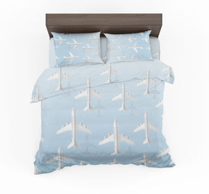 White Seamless Airplanes & Shadows Designed Bedding Sets