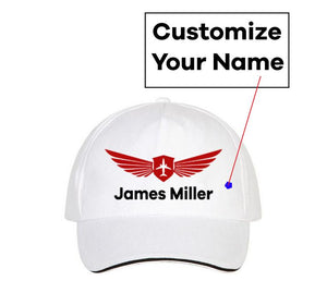 Customizable Name & Badge Designed Hats Pilot Eyes Store White(Colour)