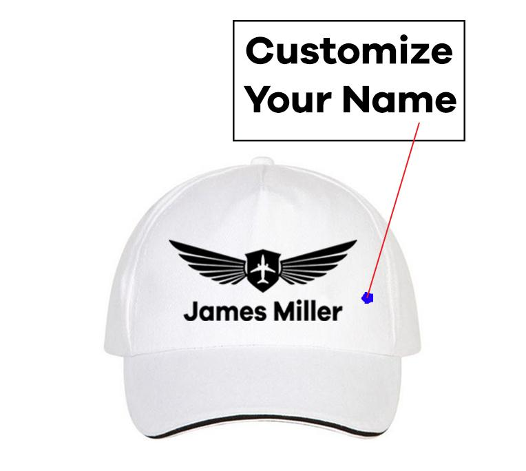 Customizable Name & Badge Designed Hats Pilot Eyes Store White