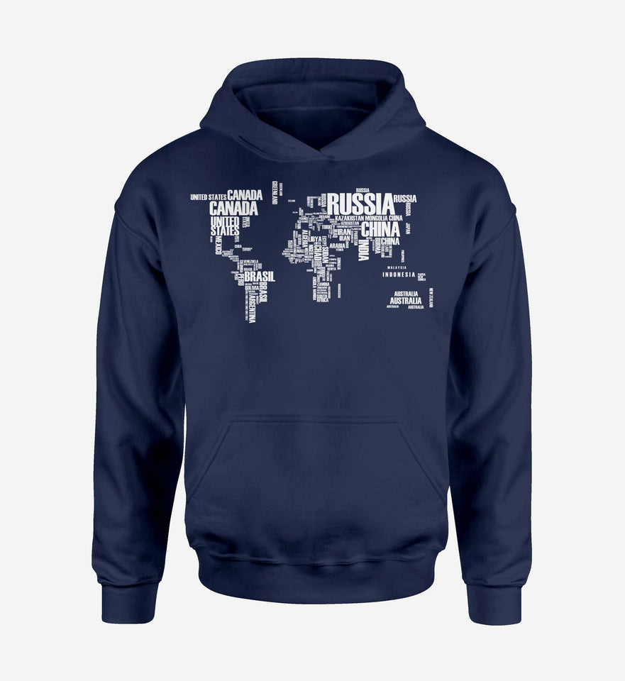 World Map (Text) Designed Hoodies