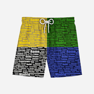 World City Names Designed Swim Trunks