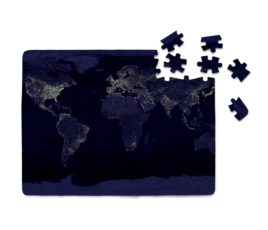 World Map From Space Printed Puzzles Aviation Shop