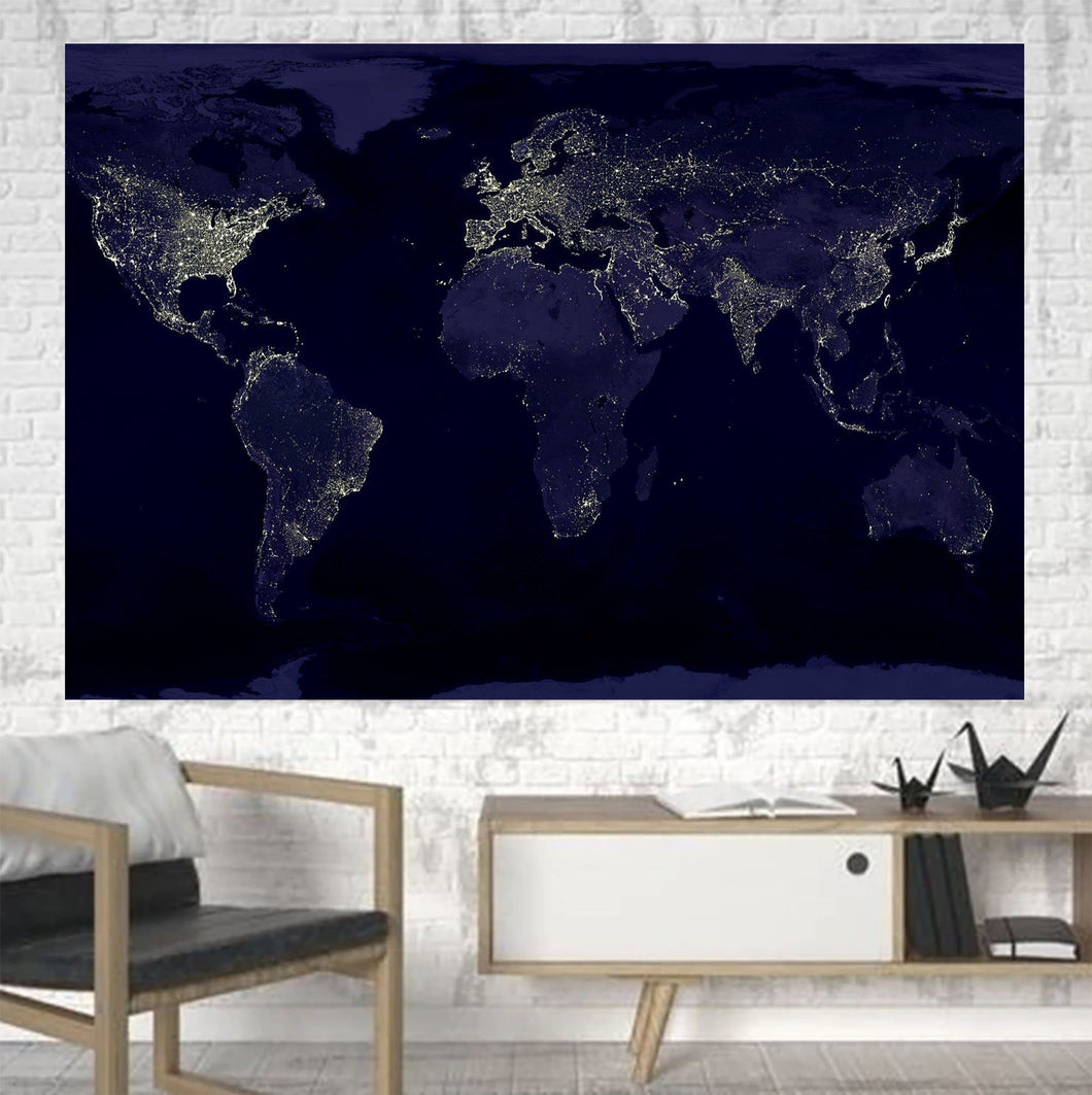 World Map From Space Printed Canvas Posters (1 Piece) Aviation Shop
