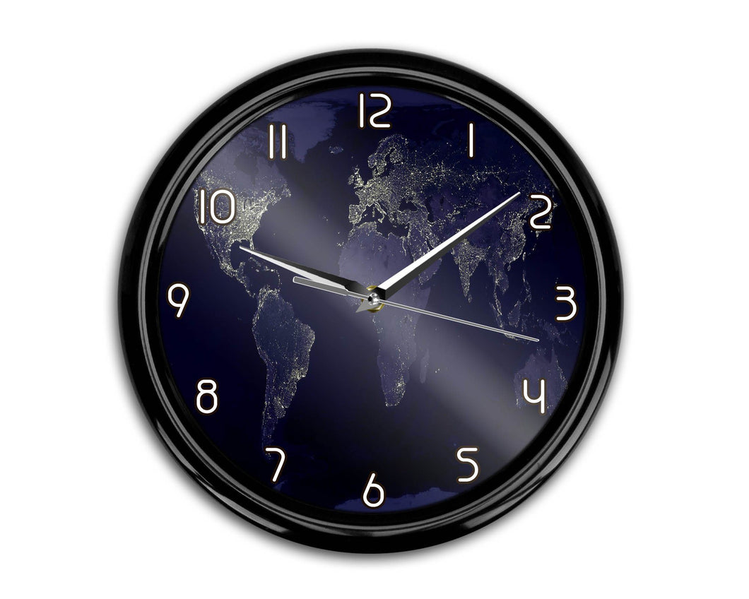 World Map From Space Printed Wall Clocks Aviation Shop