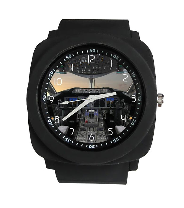 Boeing 787 Cockpit Designed Rubber Strap Watches Pilot Eyes Store