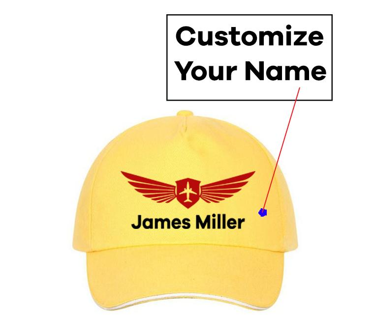 Customizable Name & Badge Designed Hats Pilot Eyes Store Yellow(Colour)