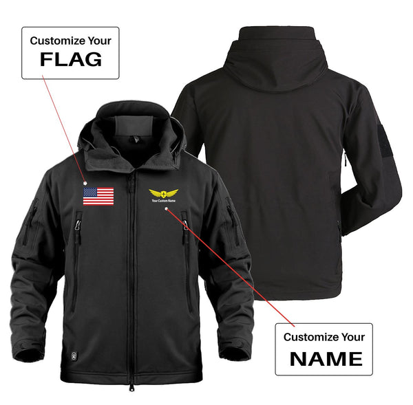 Custom Flag & Name (2) with Badge Designed Military Jackets