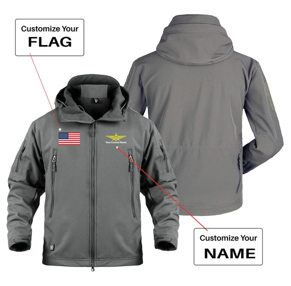 Custom Flag & Name (3) with Badge Designed Military Jackets