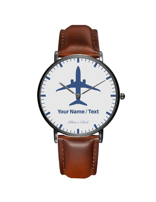 Your Name / Text Printed Leather Strap Watches Pilot Eyes Store Black & Brown Leather Strap