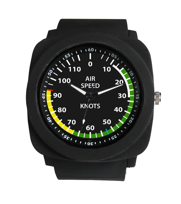 Airplane Instrument Series (Airspeed) Rubber Strap Watches