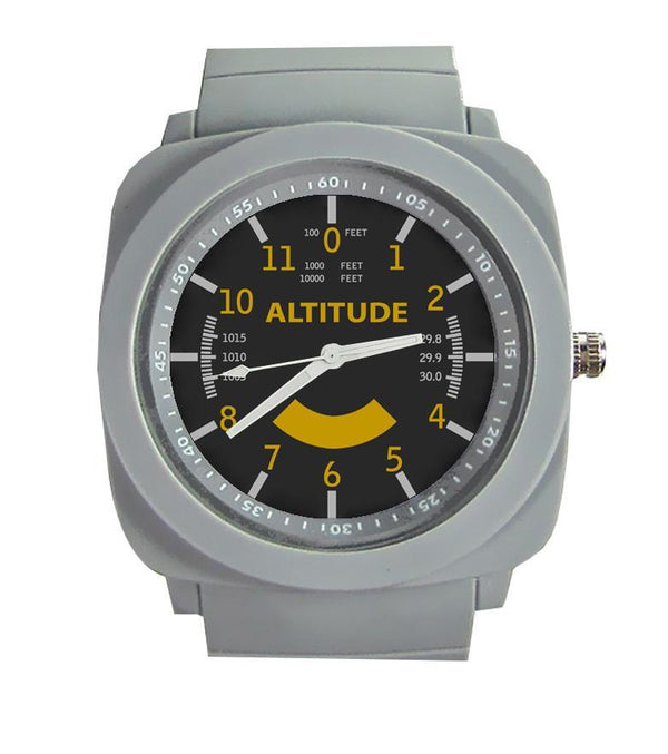 Airplane Instrument Series (Altitude-Color) Rubber Strap Watches