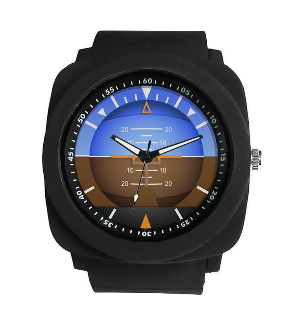 Airplane Instrument Series (Gyro Horizon 2) Rubber Strap Watches