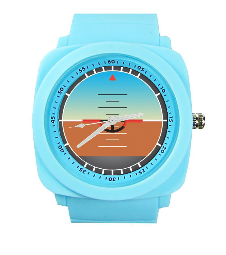 Airplane Instrument Series (Gyro Horizon) Rubber Strap Watches