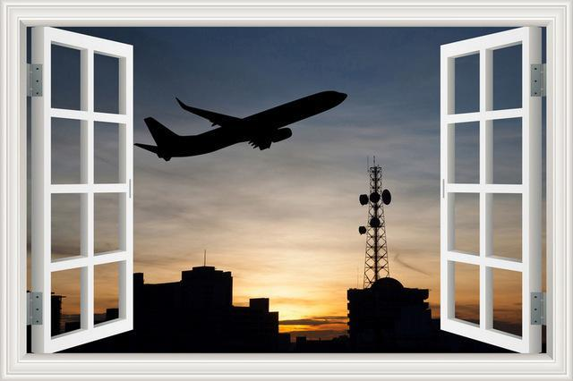 Amazing Aircraft With & Sunset View Printed Wall Stickers