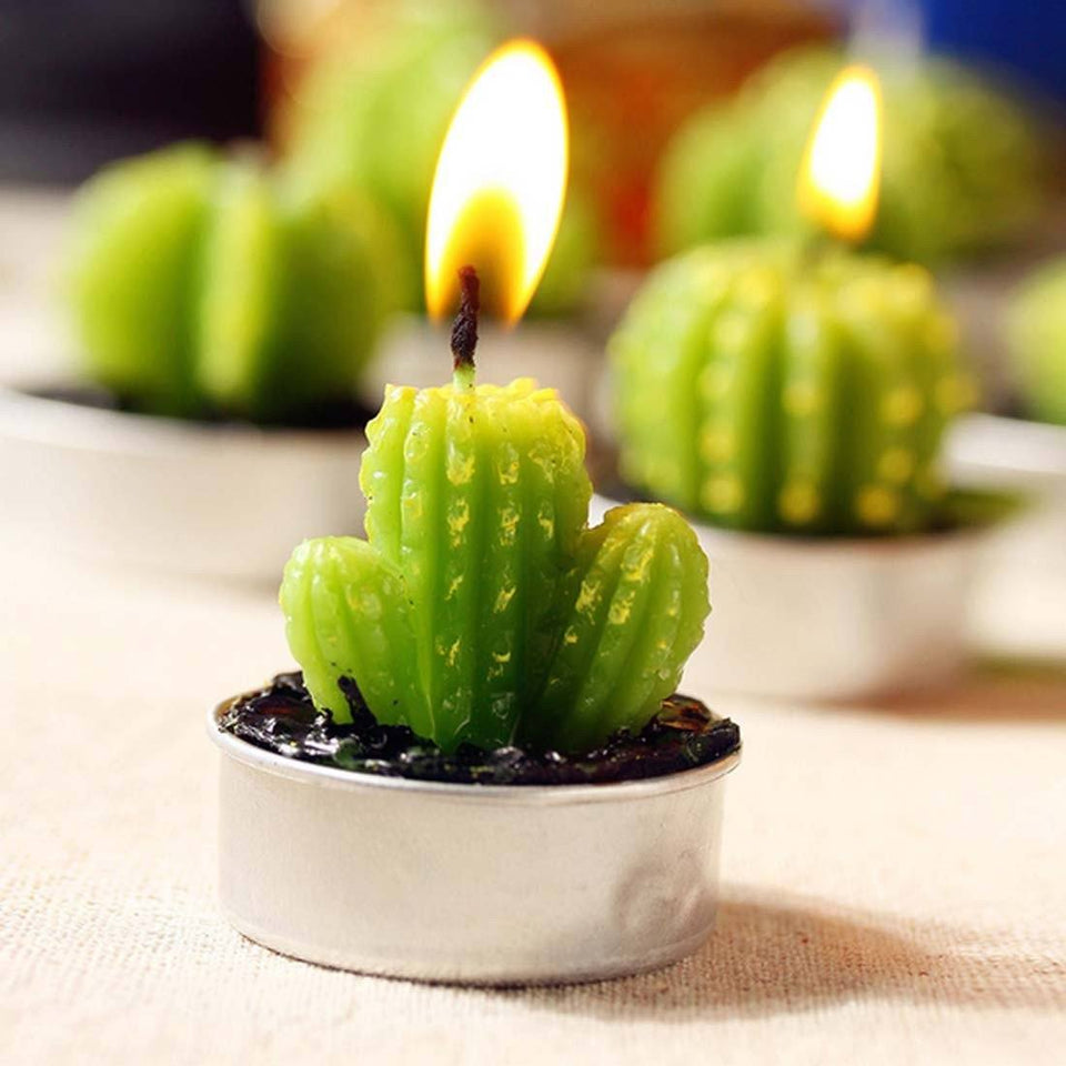 Artificial Green Cactus Candle & Perfect Decoration