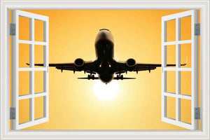 Beautiful Aircraft Departing Through Skies With Sunrise Behind Wall Stickers