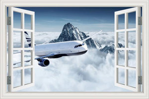 Beautiful Jet & Mountain View Behind Printed Wall Stickers