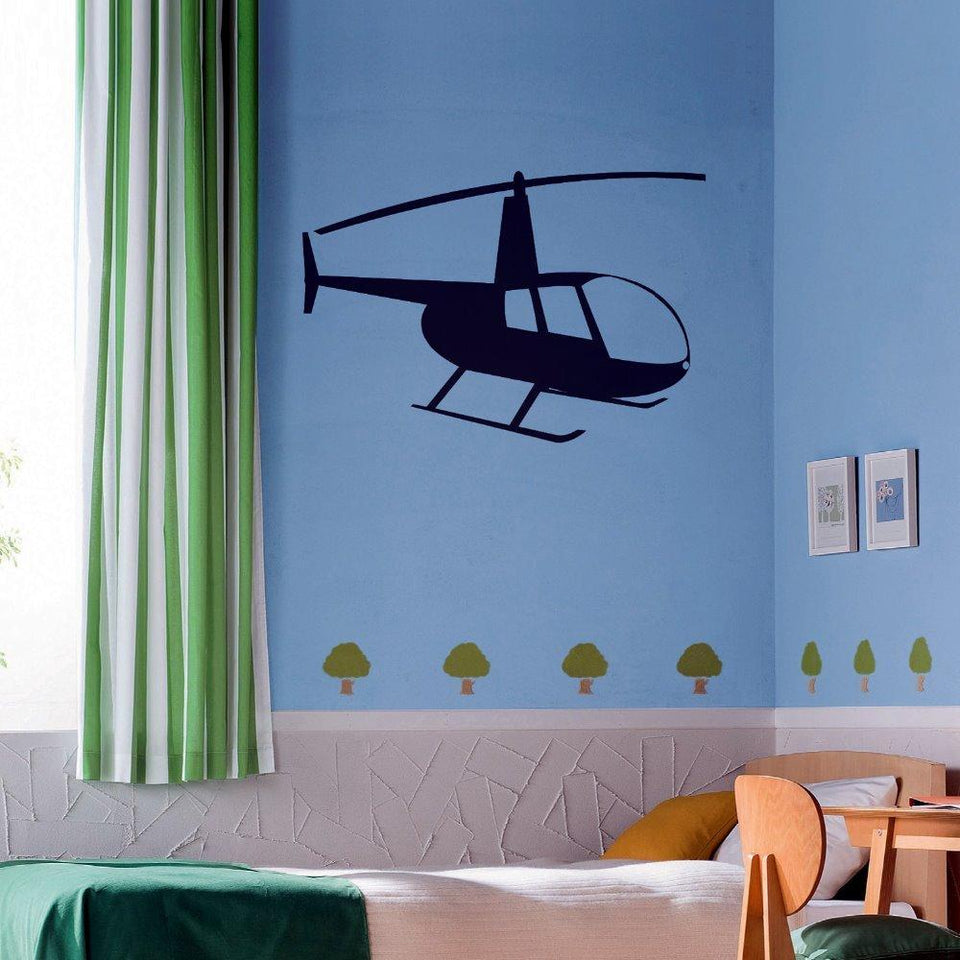 Big Helicopter Silhouette Designed Wall Stickers