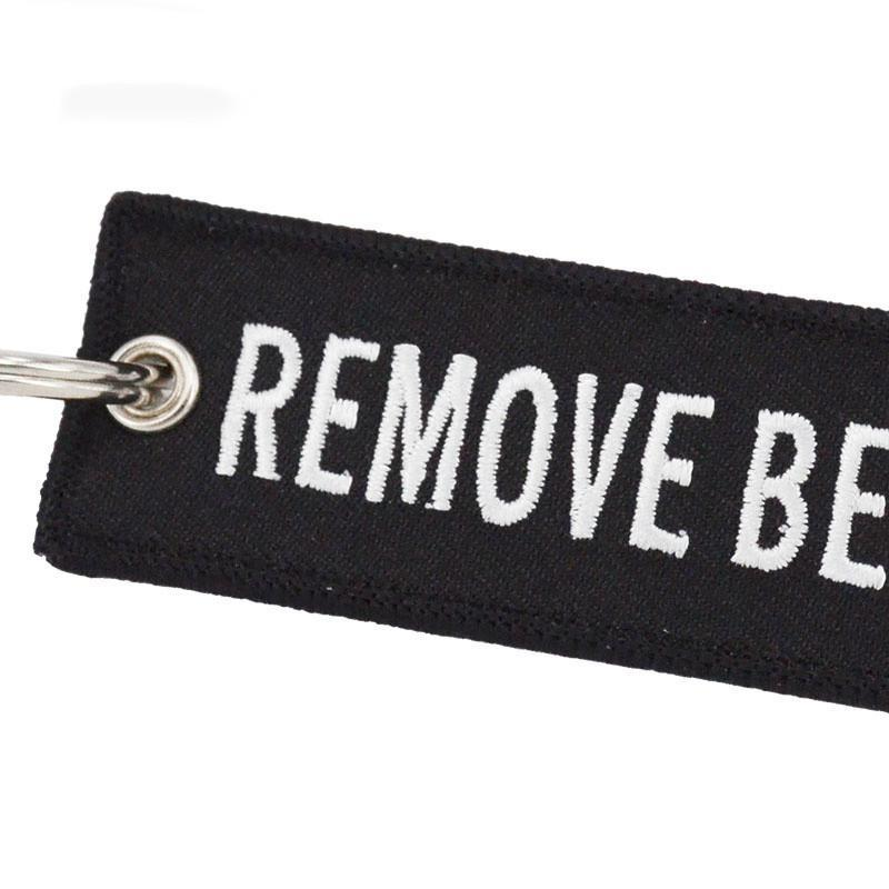 Black Remove Before Flight Designed Key Chains