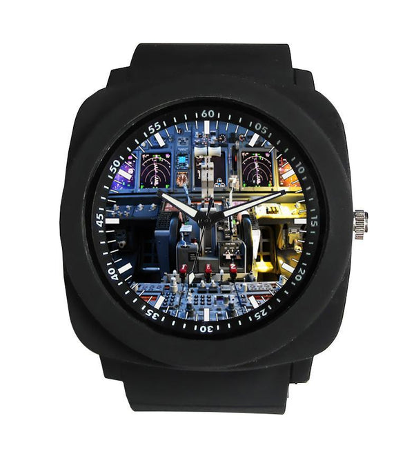 Boeing 737 Cockpit Designed Rubber Strap Watches