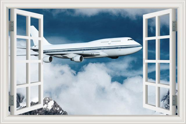Boeing 747 Over The Clouds Printed Wall Stickers