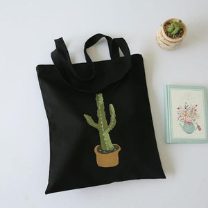 Cactus Designed Canvas Women Handbags