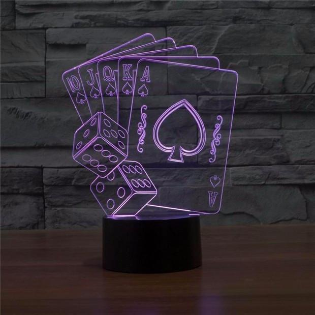Casino Poker Cards Designed Night Lamp