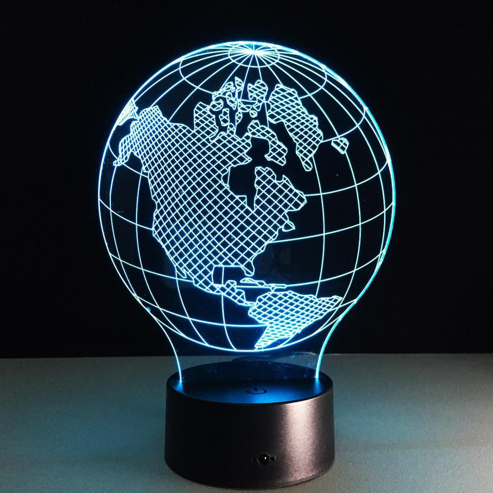 Colour Changing World Map Shape Led Table Lamps