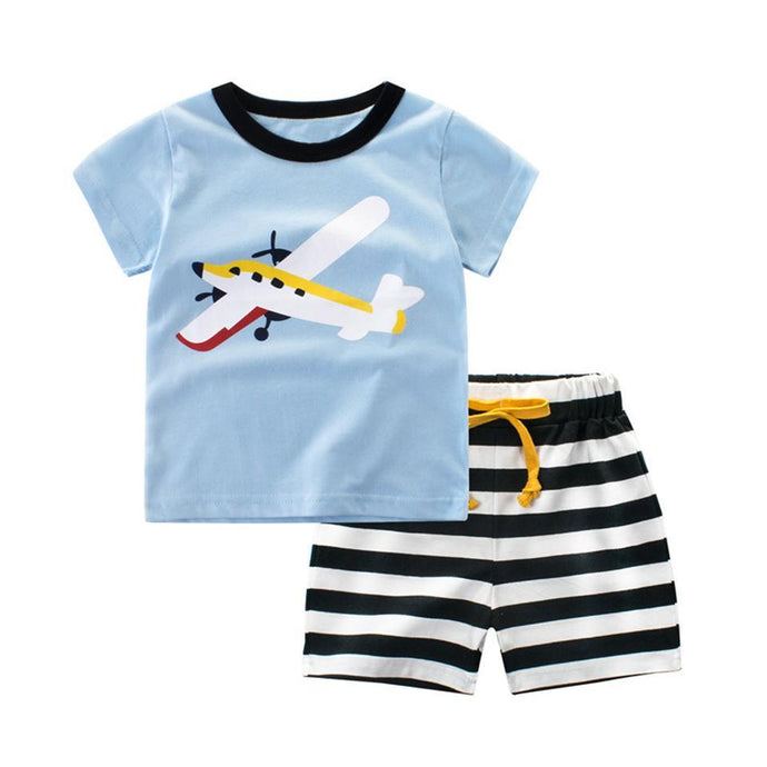 Colourful Propeller Printed T-Shirt & Shorts For Babies & Kids