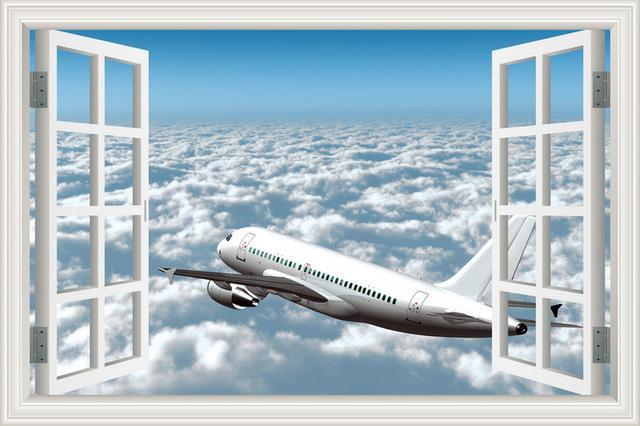 Cruising Airline Jet Over The Clouds Printed Wall Stickers