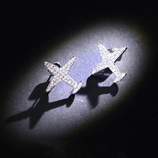 Crystal Designed Airplane Shape Earrings