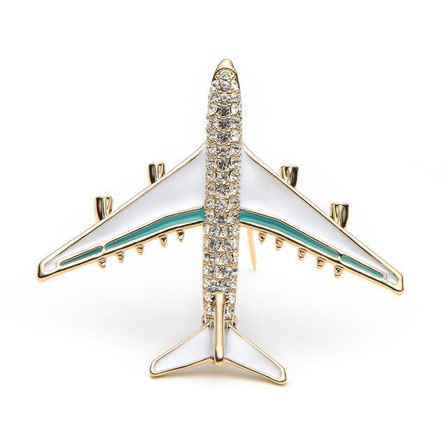 Crystal Designed Jumbo Jet Airplane Brooches