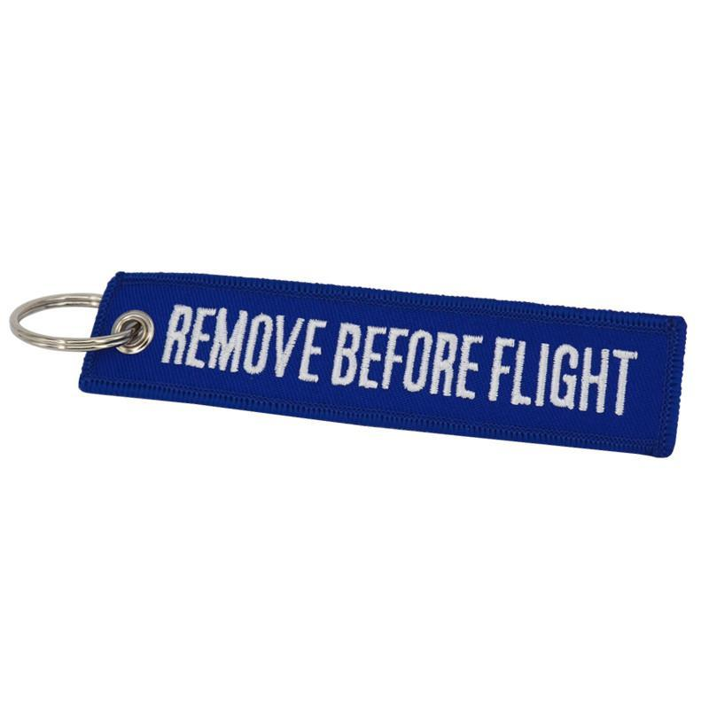 Dark Blue Remove Before Flight Designed Key Chains