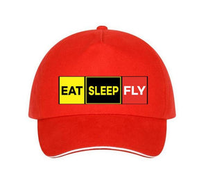 Eat Sleep Fly (Colourful) Designed Hats