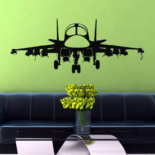Face To Face With Military Jet Designed Wall Sticker
