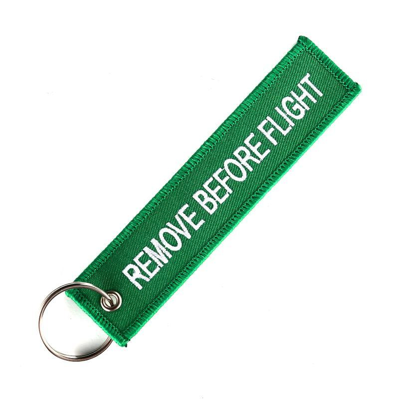Green Remove Before Flight Designed Key Chains