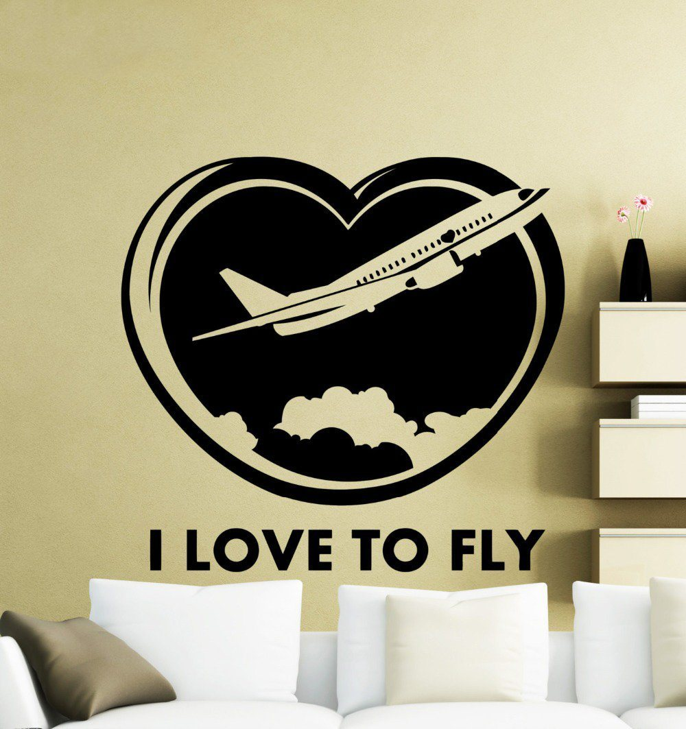 I Love To Fly Designed Wall Stickers