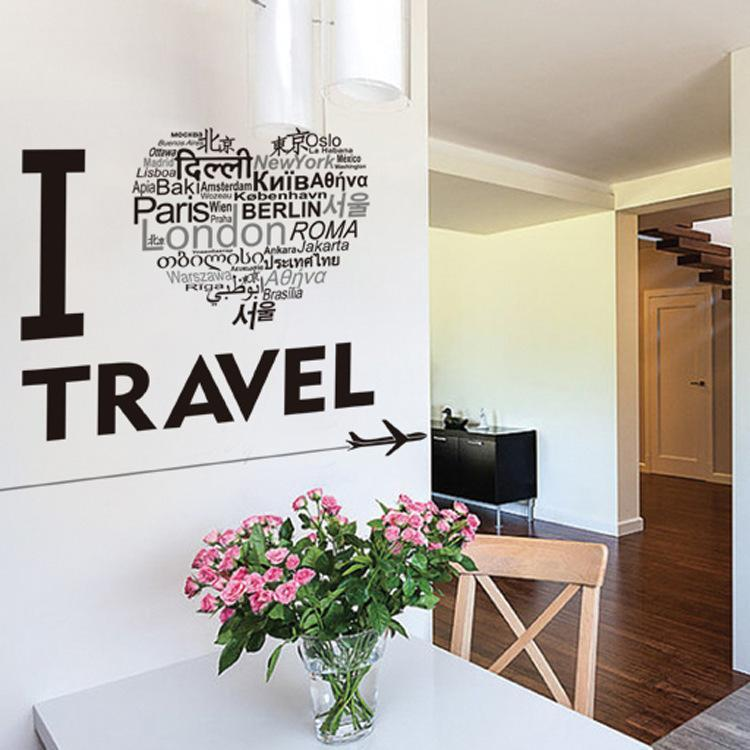 I Love To Travel Designed Wall Sticker
