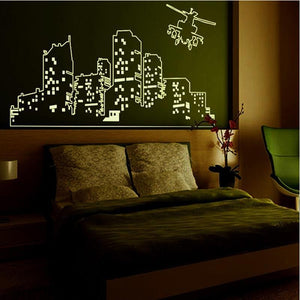 Large Luminous City & Helicopter Designed Wall Sticker
