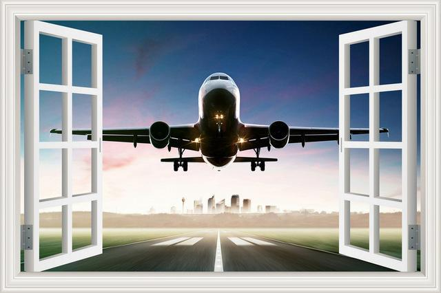Outstanding Departure With City Scene Behind Printed Wall Stickers