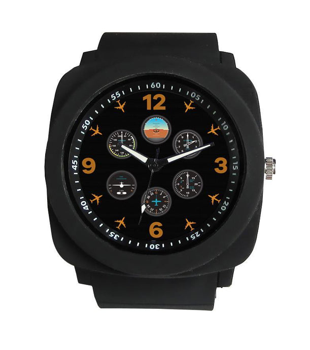 Pilot's Six Pack Designed Rubber Strap Watches