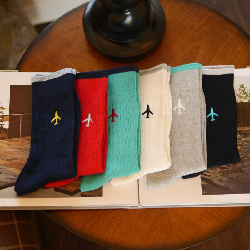 Super Quality Airplane Embroidery Socks
