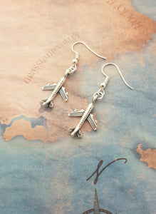 Long Style Airplane Shape Designed Earring