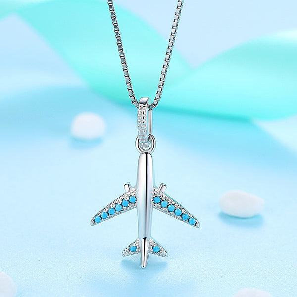 "925 Sterling & ""Blue"" Crystal Silver Airplane Shape Necklace (Top Quality)"