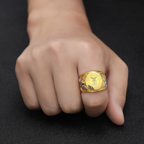 Gold Color USA US Air Force Military Rings