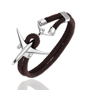 (Edition 2) Boeing 777 Airplane Designed Rope Leather Bracelets