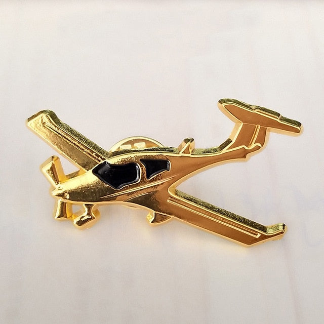 Golden Colour Airplane Shape Badges & Brooches