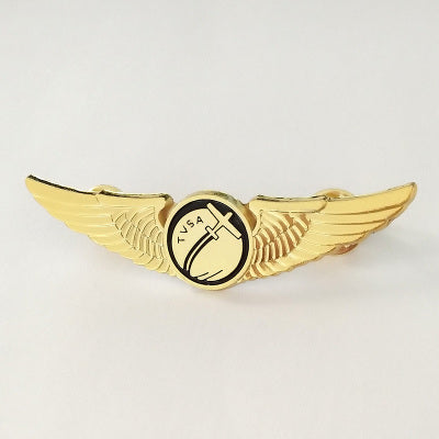 Plane Printed Design Cool Badge (Golden Colour)