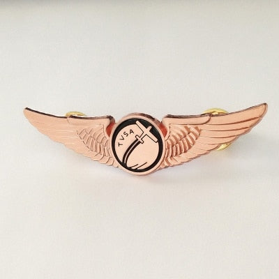 Plane Printed Design Cool Badge (Rose Gold Colour)